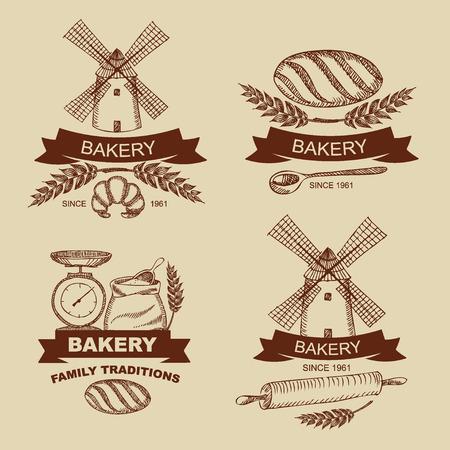Set of vintage bakery badges and labels  Retro design  Vector illustration
