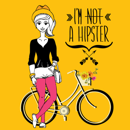 vector girl: Hipster girl. Fashion geek character. Vector illustration. Illustration