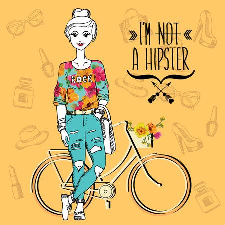 Chica inconformista. Carácter friki moda. Ilustración del vector. Foto de archivo - 26505952