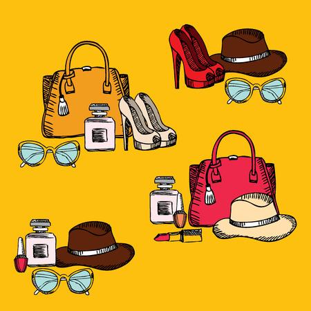 fashion set: Hipster fashion set, retro design. Vector illustration.