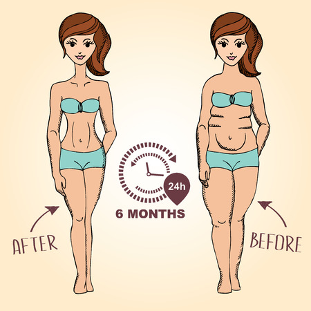 cellulite: Before and after, fat girl and slim girl. Vector illustration.