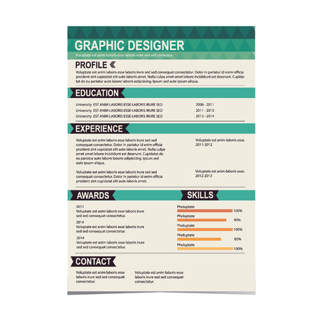 work experience: Resume template  Cv creative background  Vector illustration