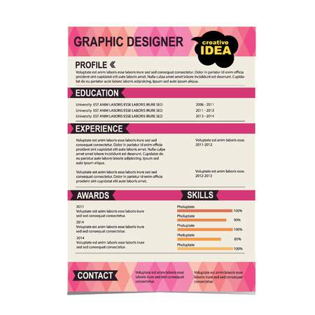 work experience: Resume template  Cv creative background  Vector illustration  Illustration