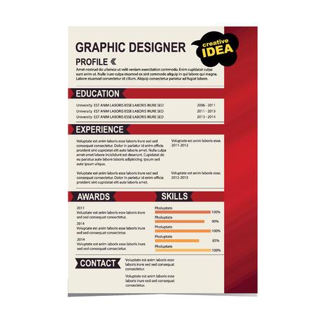 curriculum vitae: Resume template  Cv creative background  Vector illustration  Illustration