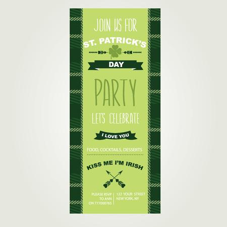 invitación a fiesta: Invitación de Saint Patricks Day Holiday Cartel del partido del vector del fondo Vectores