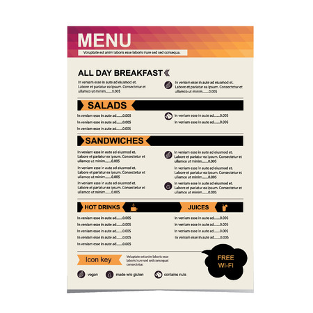 Cafe menu, restaurant template design Vector illustration  Vector