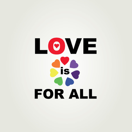 Poster Love is for all. Vector illustration. Vector