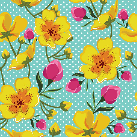 Floral seamless pattern with beautiful flowers. Vector illustration. Vector