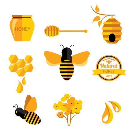Set insignias y etiquetas de la miel. Diseño de la abeja abstracta. Ilustración de vector