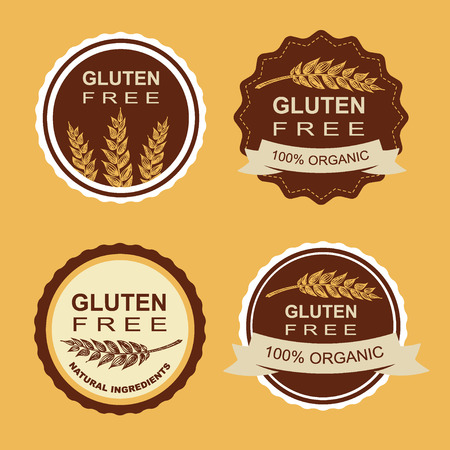 celiac: Gluten free and wheat labels Illustration
