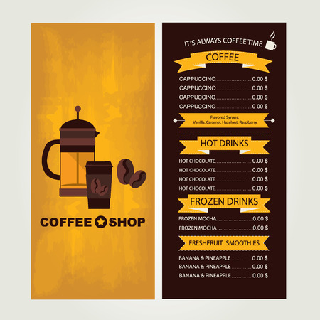 Coffee house menu, restaurant template design.