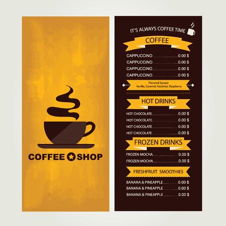 beverage menu: Coffee house menu, restaurant template design.