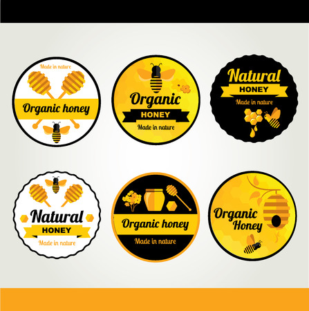 Set Honey badges and labels Vector