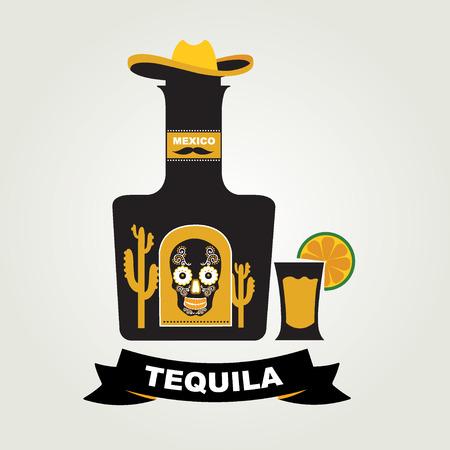 Tequila menu design  Mexican drink  Vector illustration  Vector