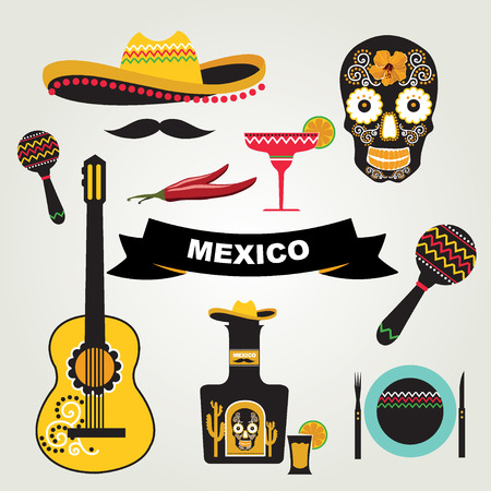Set of mexican icons illustration  Vector