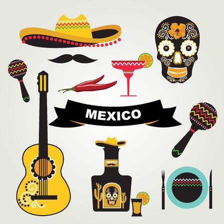 latinoamerica: Set of mexican icons illustration