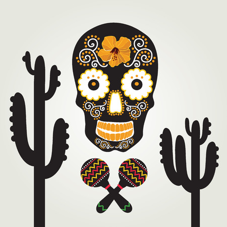Skull with ornament illustration  Vector