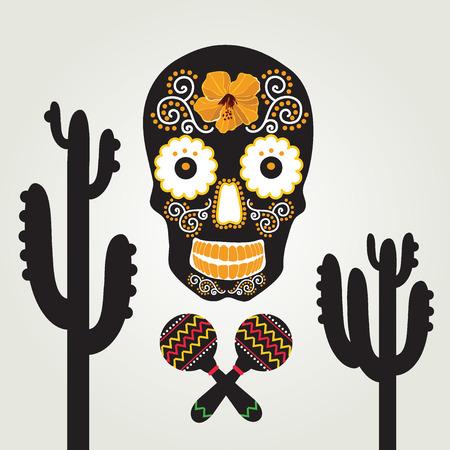 Skull with ornament illustration  Vector
