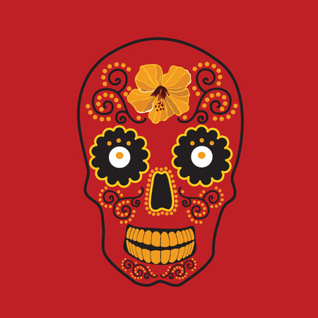 Skull with ornament illustration. Vector