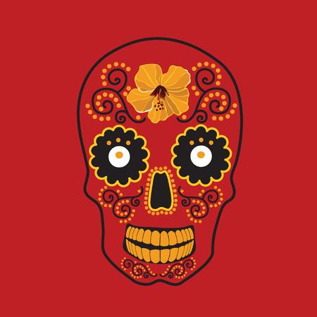 maracas: Skull with ornament illustration. Illustration