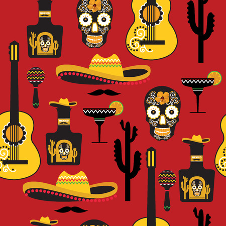 Seamless mexican pattern. Vector illustration. Vector