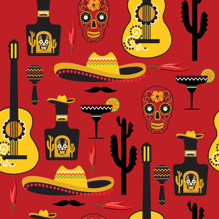 taco: Seamless mexican pattern. Vector illustration.