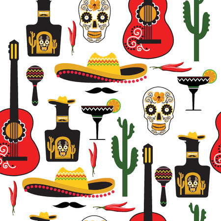Seamless mexican pattern. Vector illustration.