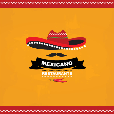 tequila: Menu mexican template design Illustration