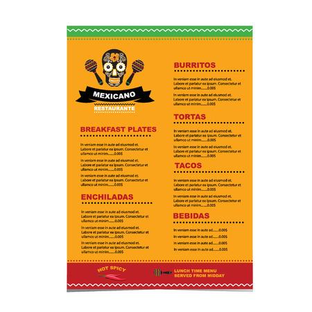 Cafe menu mexican template design Vector Illustration