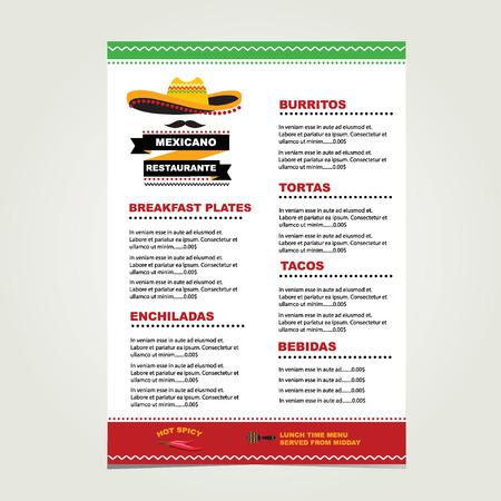 Cafe menu mexicaanse template design Stock Illustratie