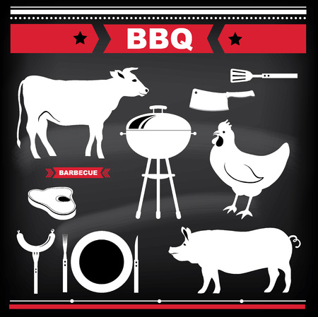 butchery: Barbecue design elements. Vector illustration.