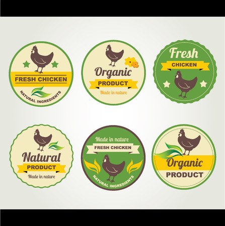Badges chicken organic product, design template.Vector illustration. Vector