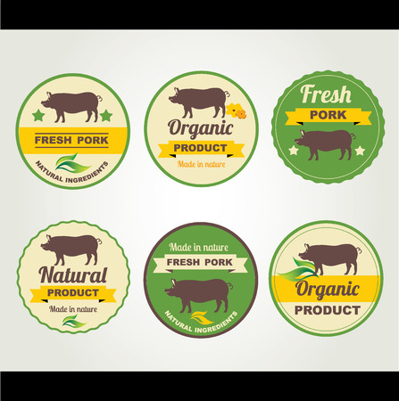 Badges pork organic product, design template.Vector illustration. Vector