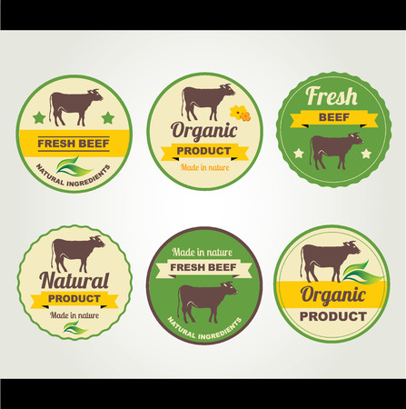 Badges beef organic product, design template.Vector illustration. Vector