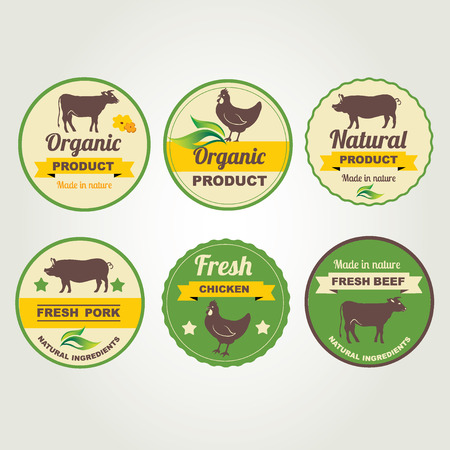 Badges beef, chicken and pork organic product, design template.Vector illustration. Vector