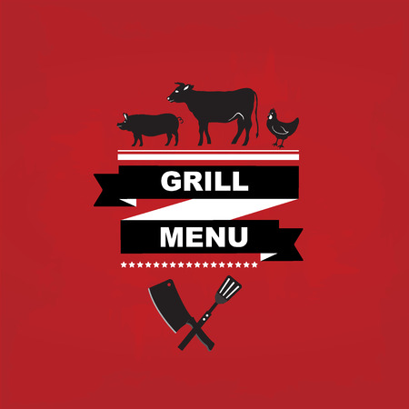 Cafe menu grill, template design.Vector illustration. Vector