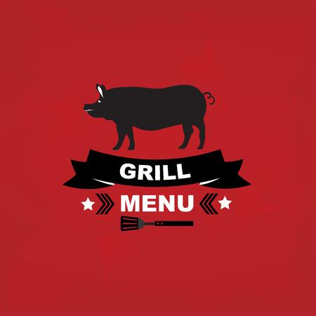 steak beef: Cafe menu grill, template design.Vector illustration.