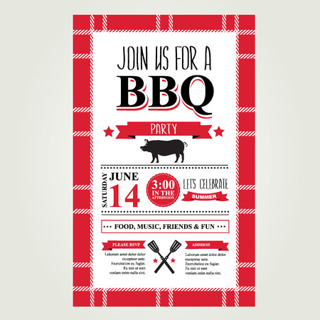 locandina arte: Barbecue invito a una festa. Menu design brochure Bbq.