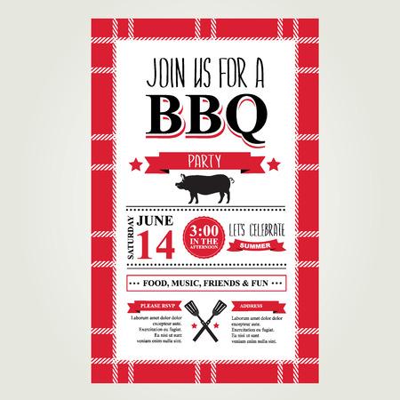 barbecue: invitation de partie de barbecue. Menu brochure de BBQ conception. Illustration