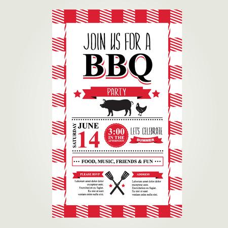 locandina arte: Barbecue invito a una festa. Bbq brochure menu design. Vettoriali