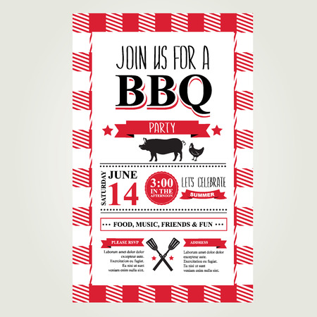 Barbecue party invitation. Bbq brochure menu design.  Vector