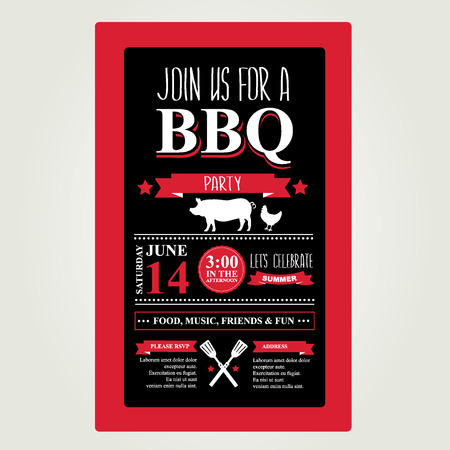 Barbecue partij uitnodiging. Bbq brochure menu design.