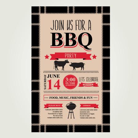 Barbecue party invitation. Bbq brochure menu design.  Vector
