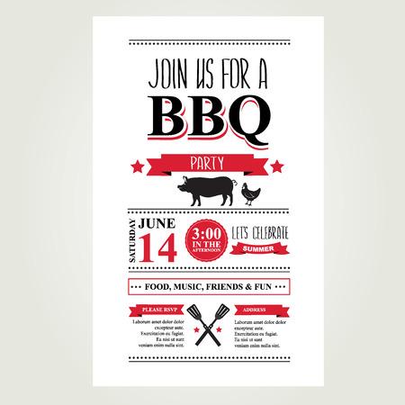 oude krant: Barbecue partij uitnodiging. Bbq brochure menu design.