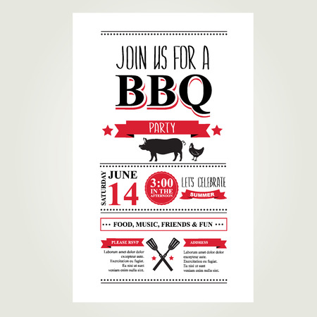 old newspaper: Barbecue party invitation. Bbq brochure menu design.