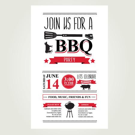 party flyer: Barbecue party invitation. Bbq brochure menu design.