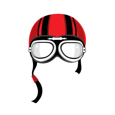 casco rojo: Casco de la motocicleta de la vendimia.