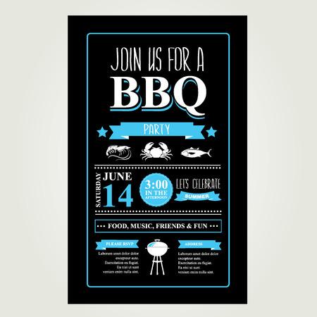 invitation party: Barbecue party invitation. BBQ brochure menu design.