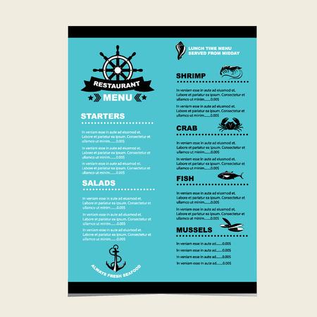 Seafood cafe menu grill, template design.