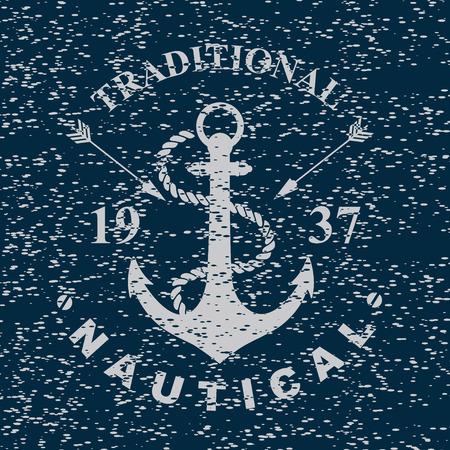 navy ship: T-shirt print. Nautical marine, badge design.